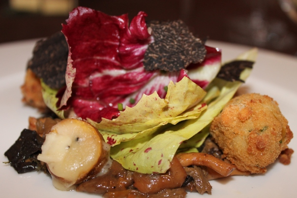 black truffle and chicory salad, paired with twomey pinot toir, russian valley 2010