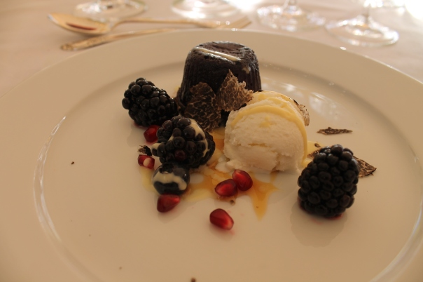 4th course - almond and truffle chocolate tortino with elder flower ice cream and fresh berries