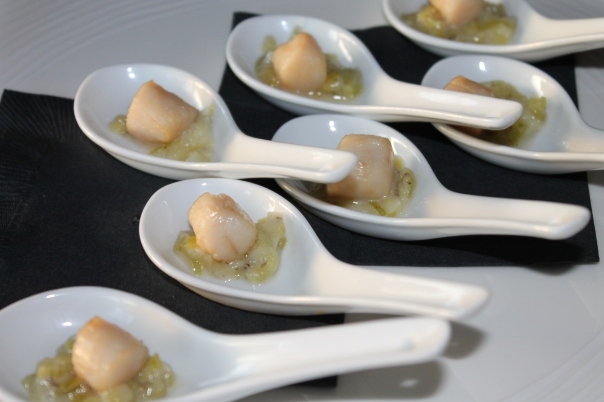 truffled leeks with a scallop
