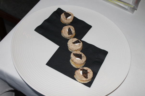 gruet pate on crustini with shaved black truffle