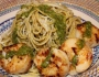 Pesto Pasta with Seared Scallops