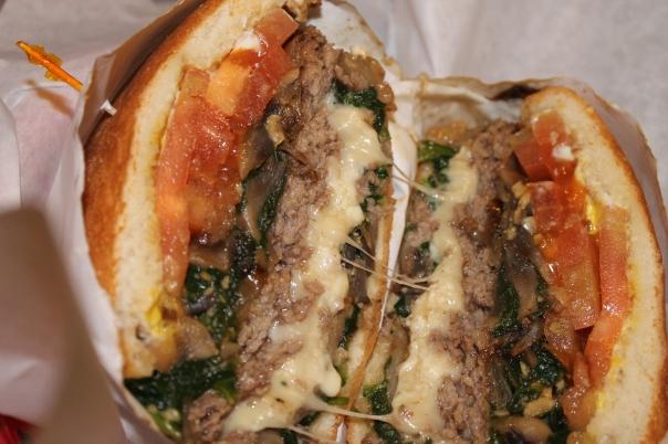 garlic spinach mushroom burger