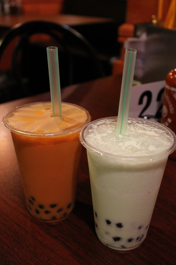 thai iced tea and honeydew smoothie, both with tapioca pearls