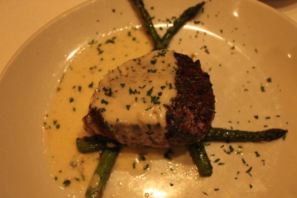 porcini-rubbed filet mignon with creamy gorgonzola sauce
