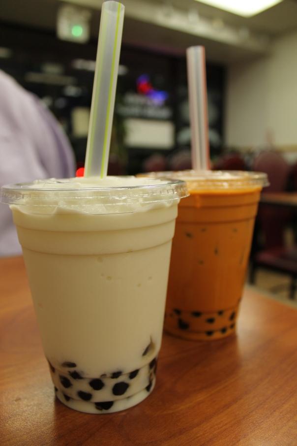 coconut shake and thai iced tea, both with tapioca pearls