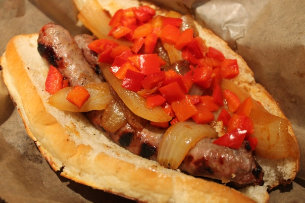 wild boar with grilled onions and sweet peppers