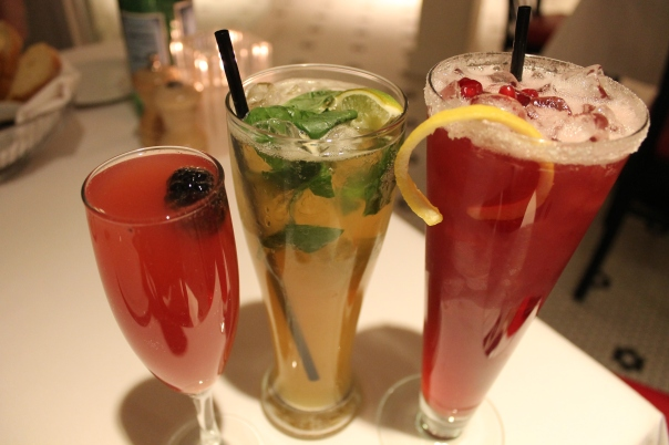 (l to r) bacio bellini, italian mojito, and pomegranate lemonade