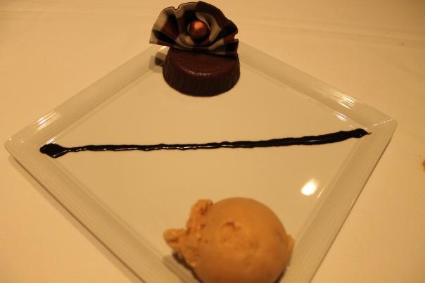 bittersweet chocolate torte with caramel gelato