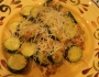 Angel Hair Pasta with White Clam Sauce, Sauteed Zucchini, and Garlic Bread