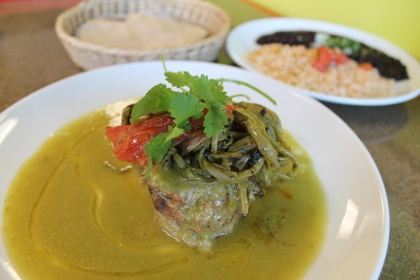 all-natural pork with chile verde sauce