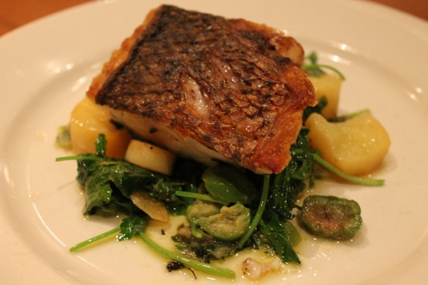 striped bass, young spigarello, potato, olives & leek salsa