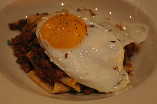 handkerchief pasta & rustic pork ragù with a sizzled duck egg