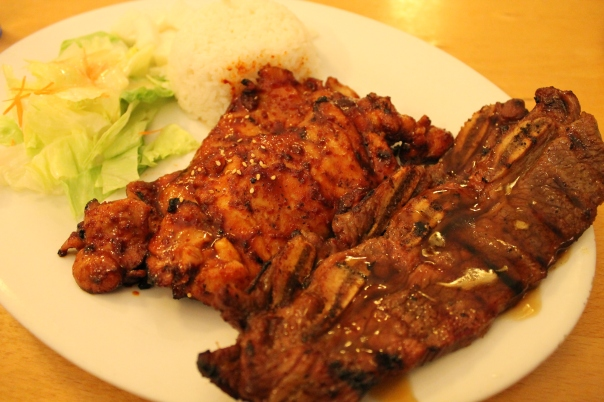 """""""any two combo"""" with spicy chicken and bbq short rib"""