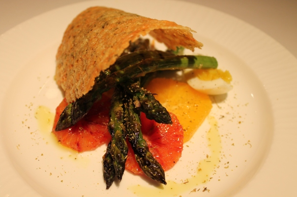 grilled asparagus and frico di montasio