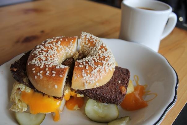 breakfast bagel with chicken scrapple