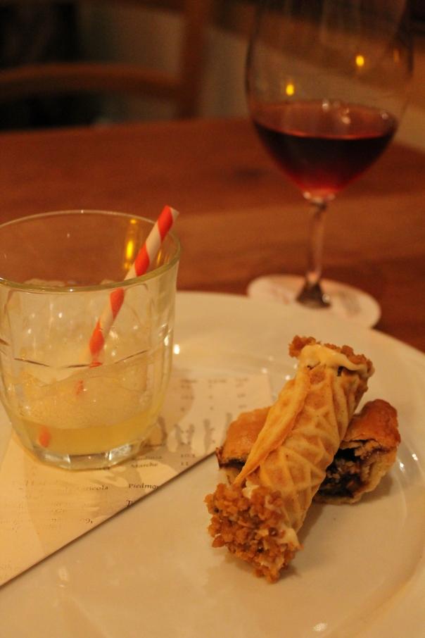 pig newton, chicken-chocolate cannolo & lemon-lime soda; vin santo di carmignano occhio di pernice 2006, villa artimino