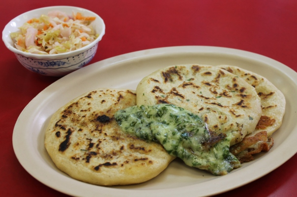 pupusas (l to r): queso con loroco, espinaca, and chicharron y queso