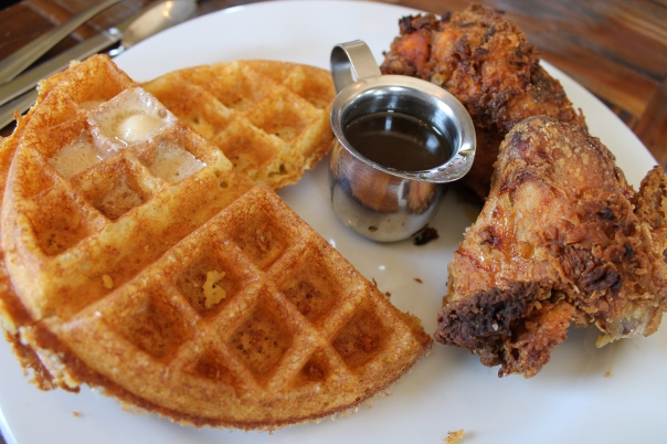 buttermilk fried chicken and cornmeal waffle