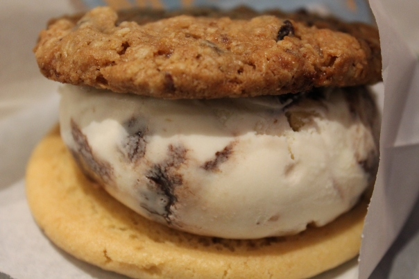 banana fudge walnut ice cream with butter sugar and oatmeal raisin cookies