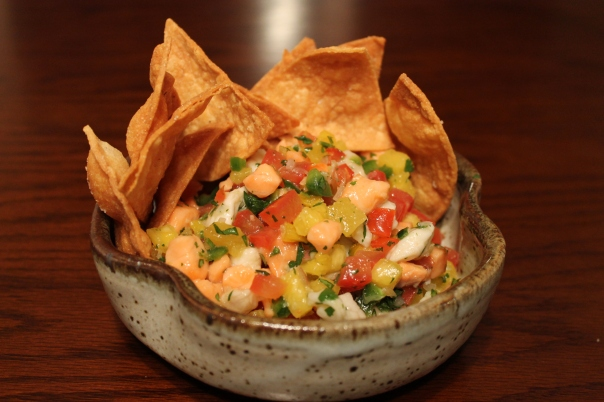 ceviche and truffled chips