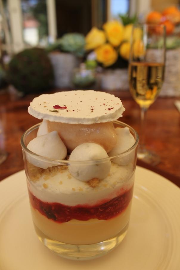 rhubarb & lychee trifle
