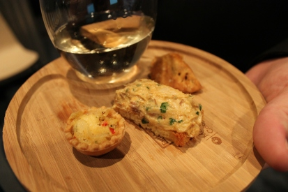 dungeness crab tart, potted mackerel, and spinach and thyme empanada