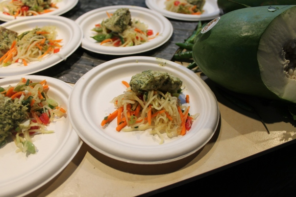 steamed thai-spiced grouper with green papaya slaw and sticky rice