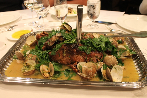 braised pork shoulder with green garlic & clams