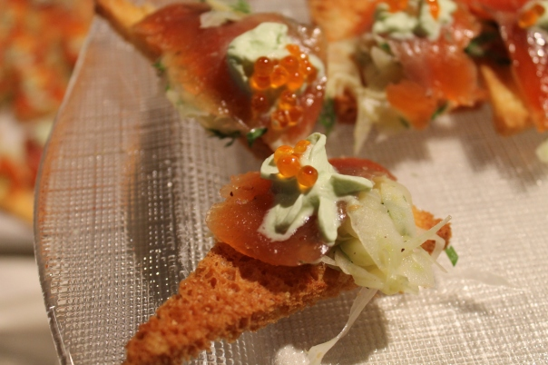 citrus cured trout with trout caviar and tarragon foam