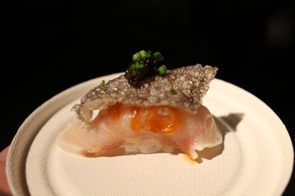white sturgeon nigiri