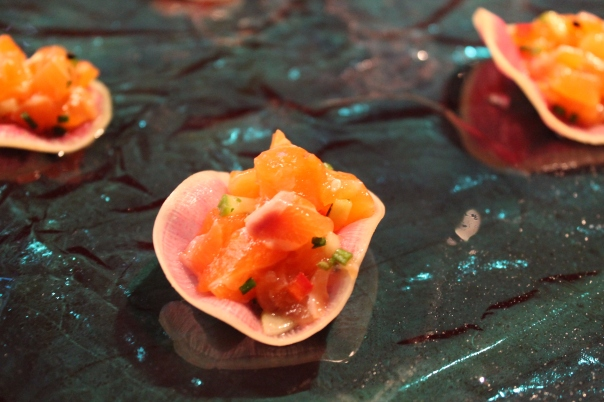 salmon tartare on watermelon radish chips