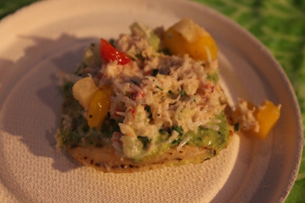 crab tostadita with green cashew sauce and mango salsa