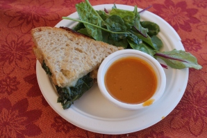 gourmet grilled cheese, soup, and salad