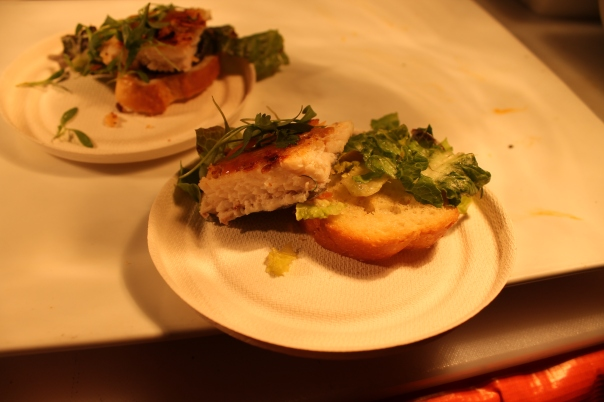 candy almond-crusted clear spring trout with pea tendrils, thai chili glaze, and micro cilantro