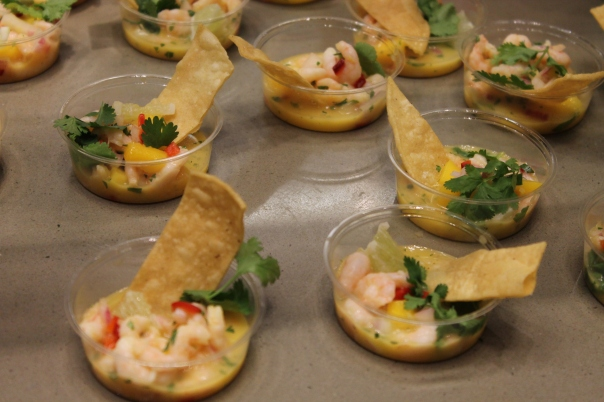 oregon pink shrimp ceviche with ginger, mango, fresno chiles and cilantro