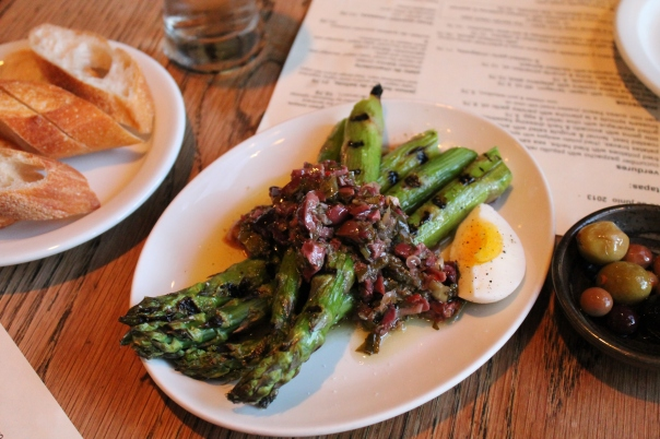 grilled asparagus with olive relish & egg