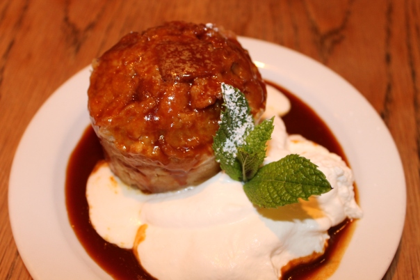 bread pudding with orange-caramel sauce