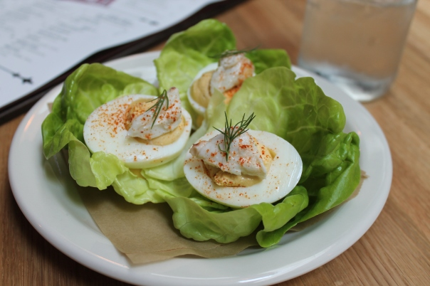crab louie deviled eggs