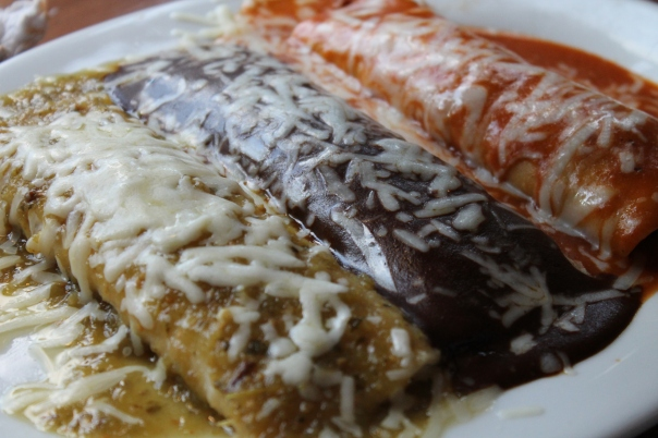 the mexican flag enchilada platter