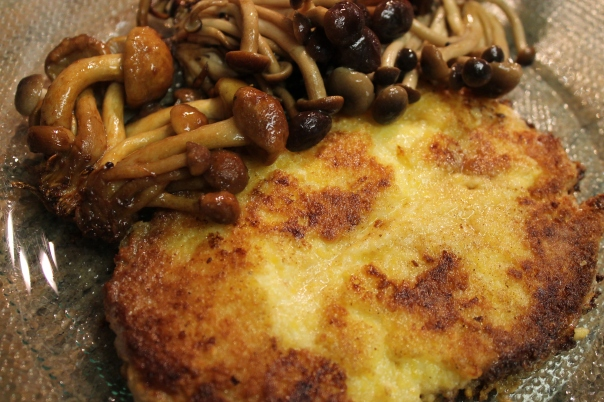 cheese polenta pancake with wild mushrooms