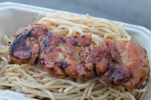 an family's garlic noodles with lemongrass chicken skewer