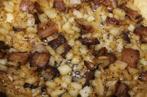 cooking down onions (with bacon)