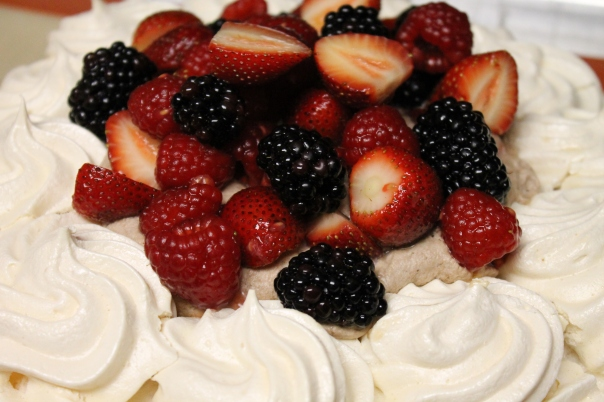 three berry pavlova with chocolate chantilly