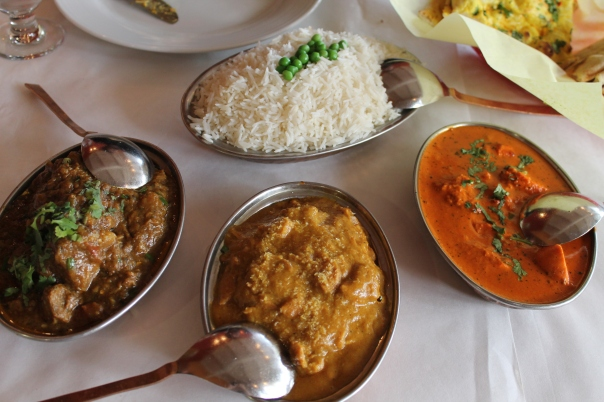 l to r: goat curry, chicken coconut curry, chicken tikka masala