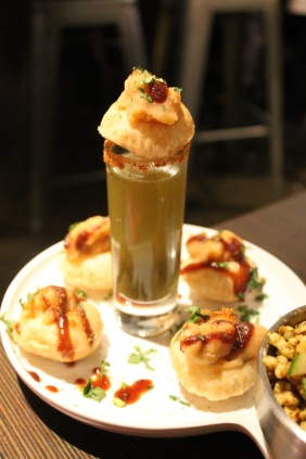 puchkas and tamarind cilantro shooter
